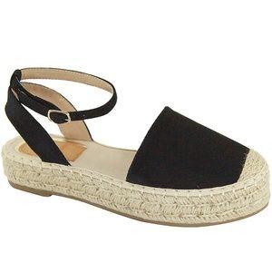 Black Mary Jane Flatform Espadrille Sandals